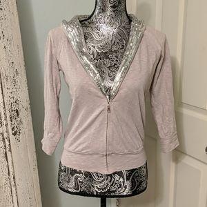 213 Nordstrom grey/ silver sequin sweatshirt